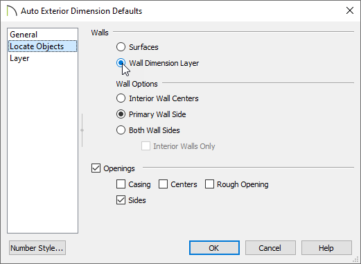 Changing how the Auto Exterior Dimensions Defaults locate objects