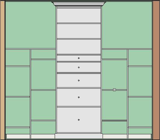 Shelves, partitions, and full height cabinet in a section view