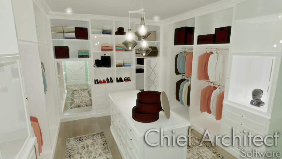 Walk-in-closet with shelves