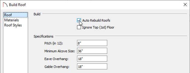 Check the Auto Rebuild Roofs box in the Build Roof dialog