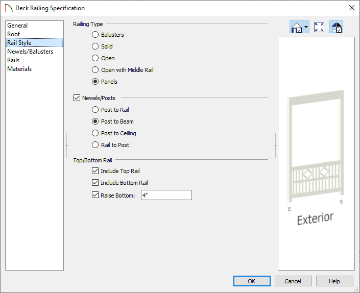 Rail Style panel of the Deck Railing Specification dialog