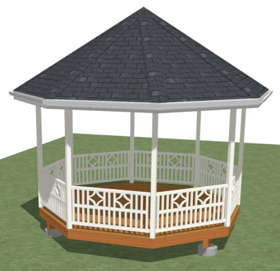 Camera view of an octagonal structure with railings