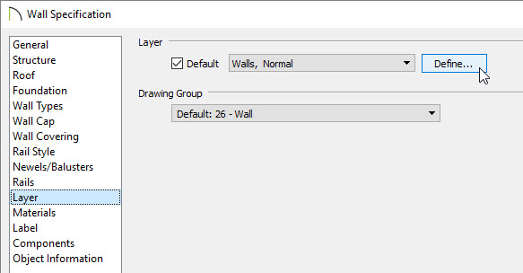 Click Define on the Layer panel of the Wall Specification dialog