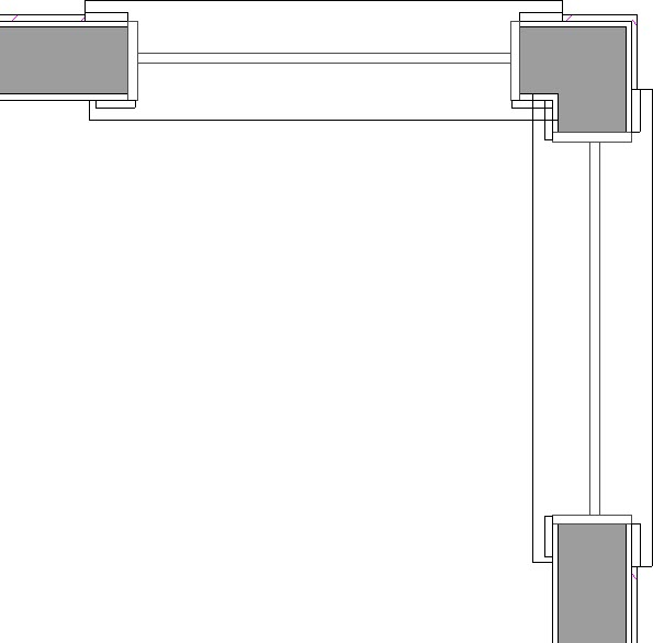 Two windows placed in a corner of a perpendicular wall connection