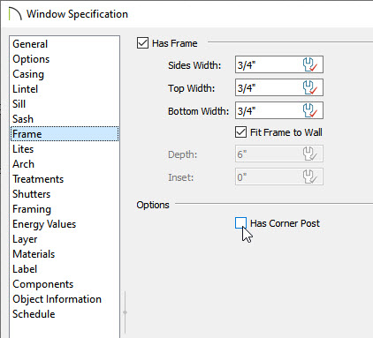 Window specification dialog with corner post box unchecked