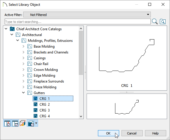 Choosing a gutter profile in the Select Library Object dialog