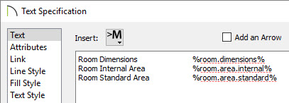 Room Dimensions, Room Internal Area, and Room Standard Area macros specified in the Text Specification dialog