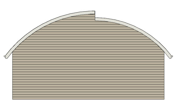 side view of curved roof planes
