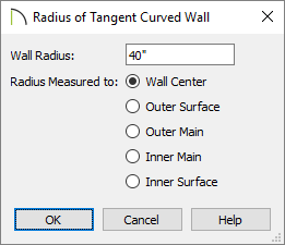 "Radius of Tangent Curved Wall dialog in which a radius of 40"" is specified"