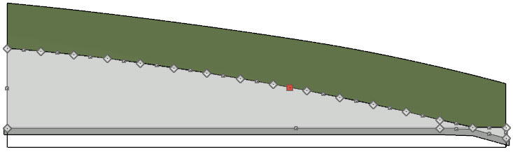 Selecting the retaining wall in a cross section view shows all the edit handles