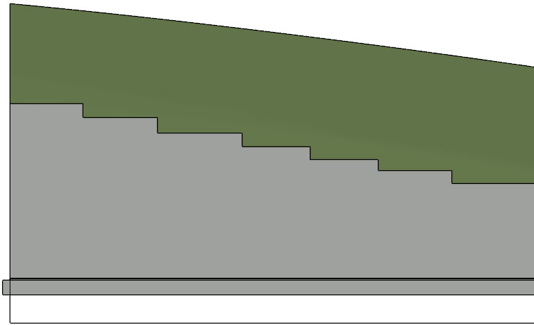 A full terrain of steps in the retaining wall