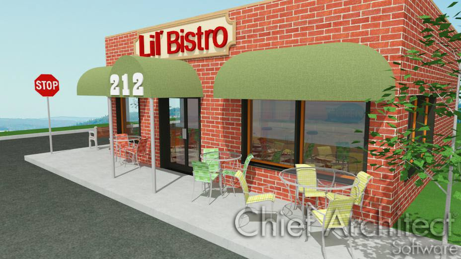 Exterior view of bistro cafe with letter sign