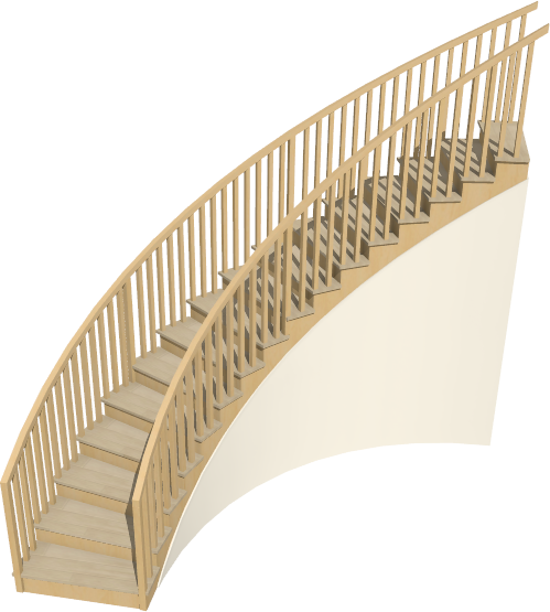 Camera view of a curved staircase with walls underneath