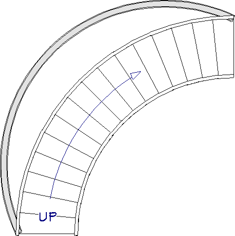 Curved wall drawn on the outside of the staircase