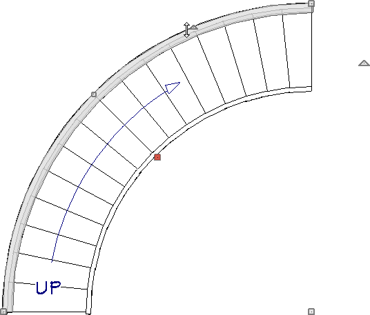 Curved wall adjusted to match the curve of the staircase