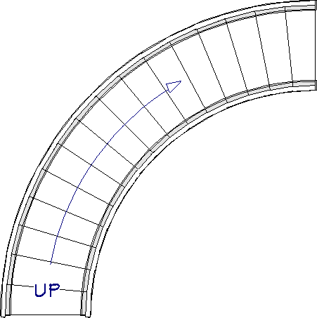 Curved walls created on each side of the staircase