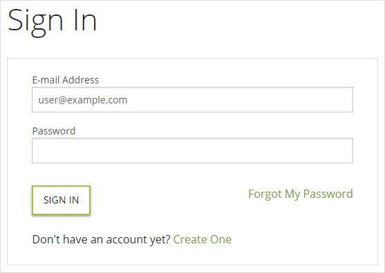 Online account sign in page