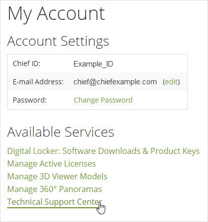 Clicking on Technical Support Center in the online account