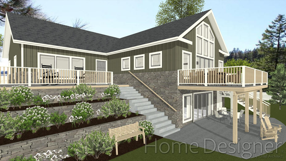 Walk-out basement with a sloping terrain and a deck