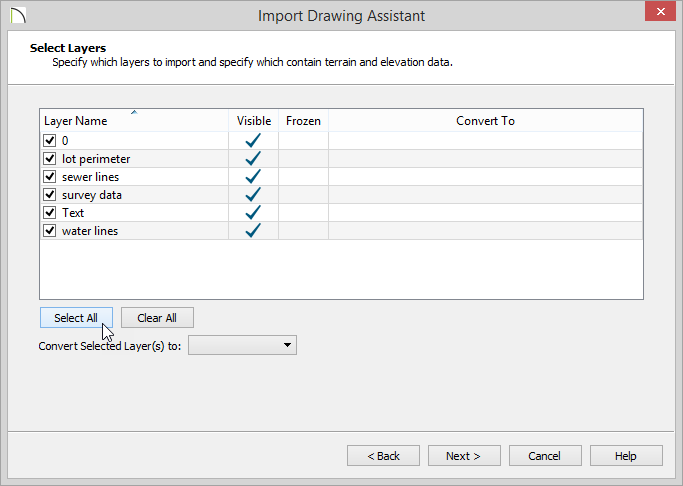 Import Drawing Assistant - Select Layers page - all layers selected with checkmarks