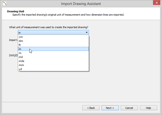 Import Drawing Assistant - Drawing Unit - Inches selected for unit of measurement