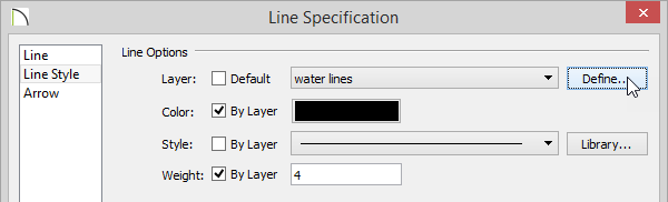 Line Specification dialog box - Line Style panel with arrow on Define button next to water lines layer