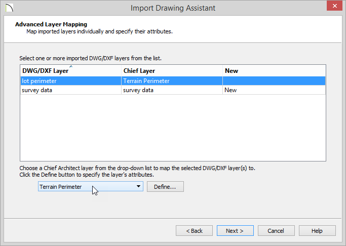 Import Drawing Assistant - Advanced Layer Mapping - lot perimeter highlighted and Terrain Perimeter selected from drop-down list