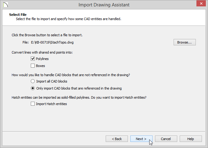 Import Drawing Assistant - Select File - Polylines checked