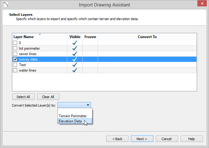 Import Drawing Assistant - Select Layers - survey data highlighted and Elevation Data selected from the drop-down list
