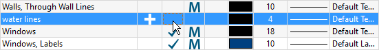 Layer Display Options dialog with checkmark being removed from the Display column for the water lines layer