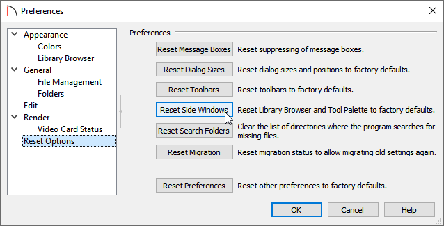 Click on Reset Side Windows located on the Reset Options panel of Preferences