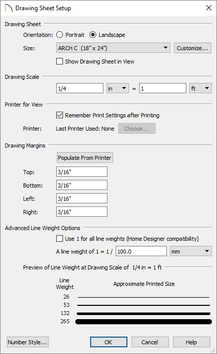 Drawing Sheet Setup dialog with Orientation, Paper Size, Drawing Scale and Drawing Margins filled in
