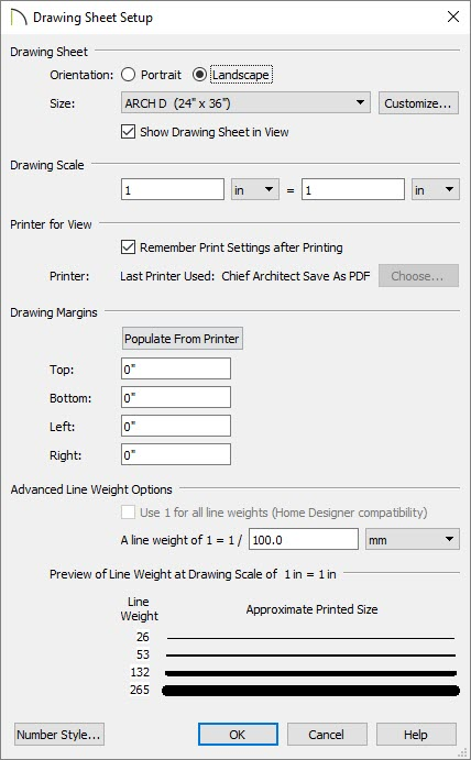 Drawing Sheet Setup dialog with Orientation, Size, Drawing Scale set to 1 inch equals 1 inch, and Margins all set to zero