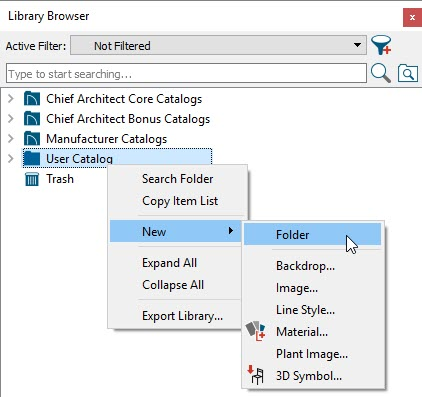Right-click on the User Catalog folder in the Library Browser and select New> Folder