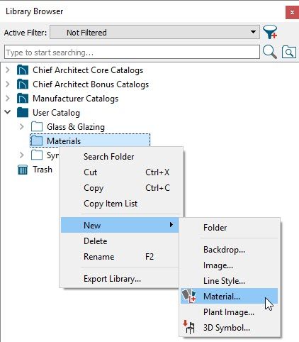 Right-click on the Materials folder and choose New> Material