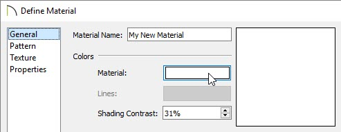 Select the Color Box next to Material on the General panel of the Define Material dialog