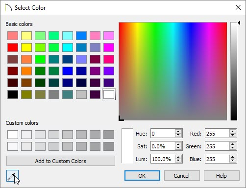 On a Windows computer, select the Eyedropper tool located in the bottom left corner of the Select Color dialog