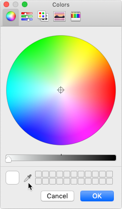 Selecting the eyedropper tool in the Colors dialog on a Mac computer