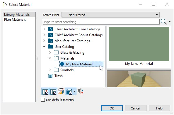 Selecting the custom color material using the Select Materials dialog