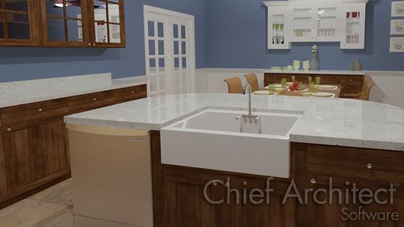 kitchen island with apron sink
