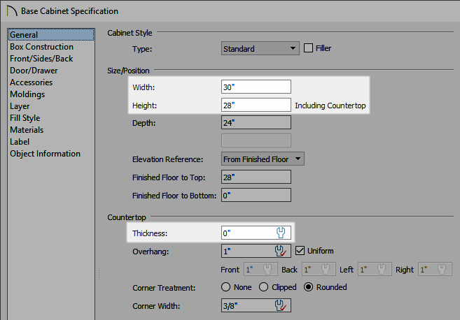 Width, height, and countertop thickness set on the General panel of the Base Cabinet Specification dialog