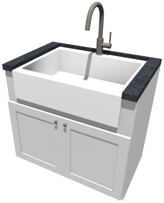 Camera view of an apron sink sitting inside a base cabinet