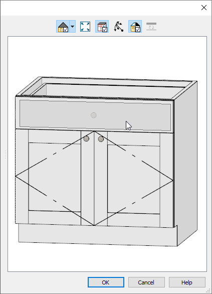 Selecting the cabinet drawer using the preview in the dialog