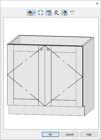 Preview of base cabinet with drawer deleted