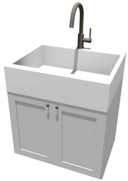Camera view of an apron sink on top of a base cabinet