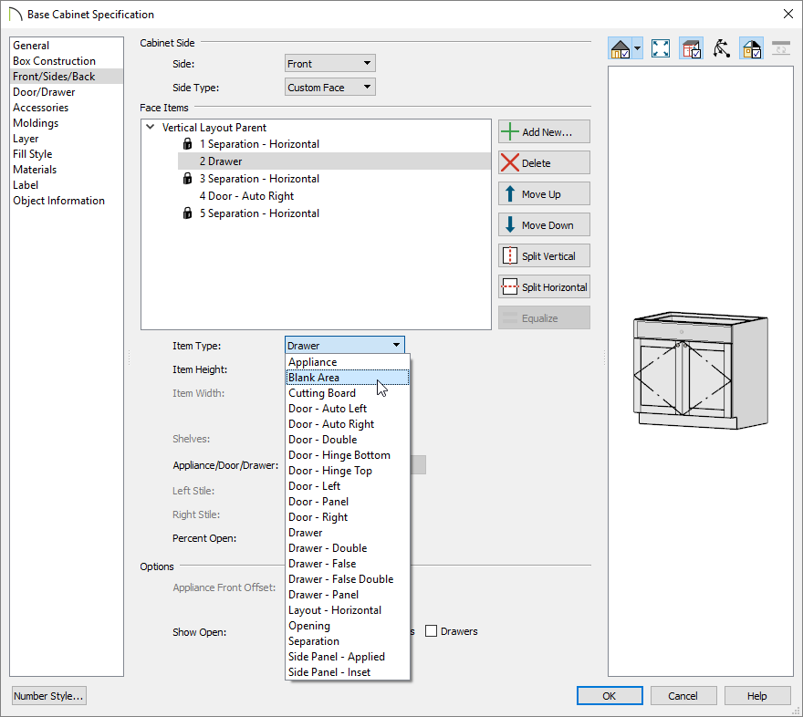 Converting a drawer to be a blank area on the Front/Sides/Back panel of the Base Cabinet specification dialog