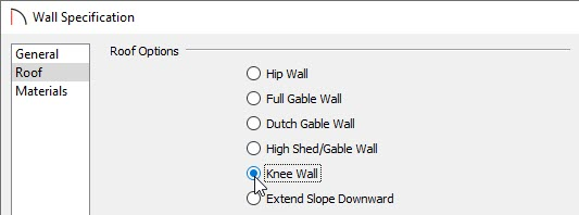Selecting the wall to be a knee wall.