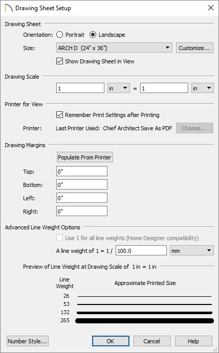 Drawing Sheet Setup dialog where the drawing sheet size, scale, and other print settings can be set