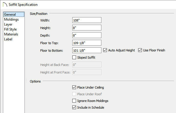 General panel of a Soffit Specification dialog