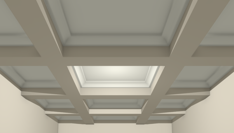 3D Camera view of a coffered ceiling created using soffits